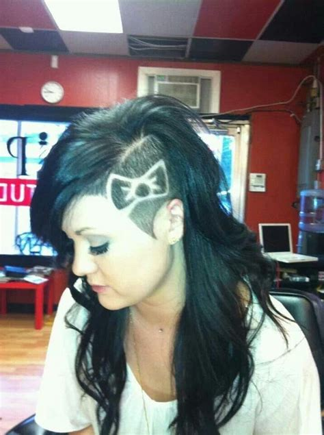 shaved pointy side  bow design hairstyles  women shaved hair designs hair styles hair