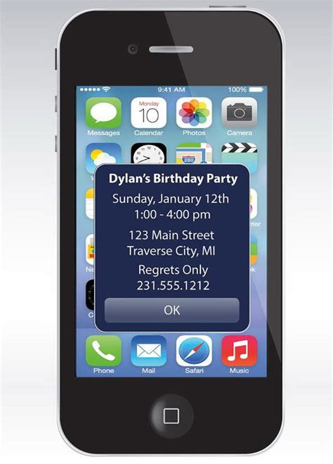 iphone birthday card template iphone alert birthday invitation ipod iphone