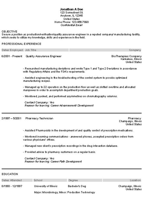 Resume Sles For Pharma Industry Pharmaceutical Resume Exle