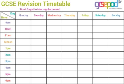 printable revision planner timetable templates download free premium templates