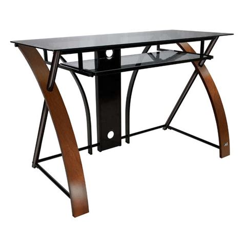 Curved Computer Desks Bello Glass Computer Desk With Curved Wood Sides Espresso Cd8841