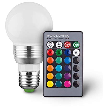 Led Light Bulb With Remote 2 Pack Color Changing Led Light Bulb With Remote 16 Colors Yugster