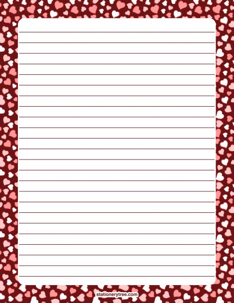 lined paper with poppy border printable heart stationery