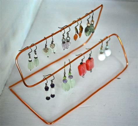 diy copper wire jewelry organizer or stand for earrings