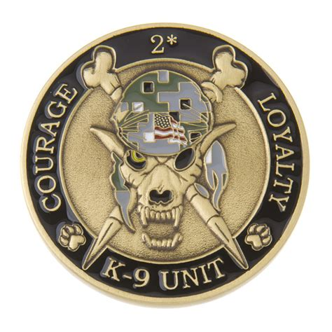 k9 skeleton coin antique gold w acu delta challenge