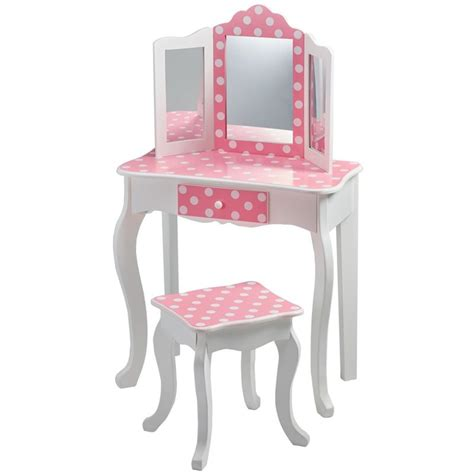Vanity Children by Teamson Fashion Prints Polka Dot Vanity Table And Stool Set Td 11670f