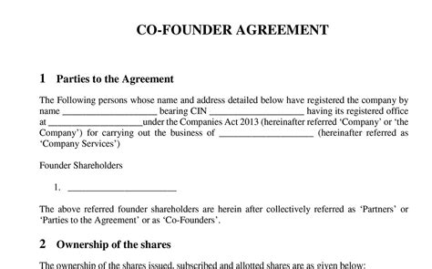 stron biz founders agreement template