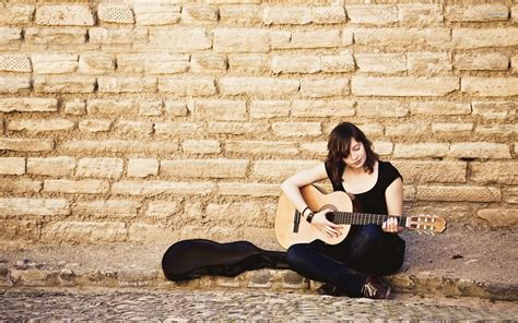 wallpaper girl with guitar girl with guitar wallpapers hd download
