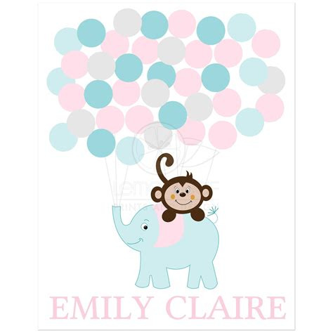 Baby Shower Guestbook by Baby Shower Guest Book Sign Monkey And Elephant