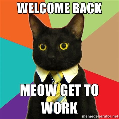 Welcome Back Meme - welcome back to work cat clipartsgram com