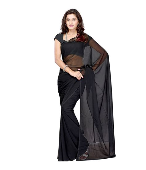 Fathina Blouse fatima collection black cotton plain saree with blouse