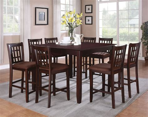 9pc dining set 3 counter high dining table sets