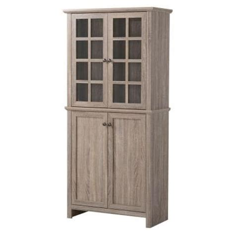 2 door glass mdf storage cabinet in reclaimed wood
