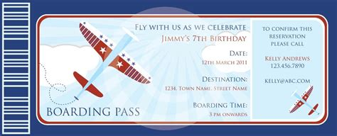 boarding pass airplanes invitation diy by blackleafdesign