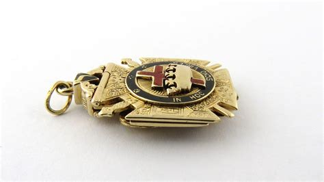 Vintage Masonic Ancient And Accepted Scottish Rite Large Lapel Pin vintage 14k yellow gold masonic eagle tri fold fob pendant scottish from ctgoldcustomers on
