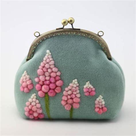 Handmade Felted Purses - handmade needle felted myosotis project purse vintage