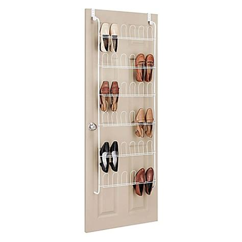 shoo rack bathroom whitmor 18 pair over the door shoe rack in white bed