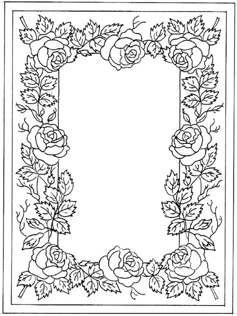 rose border coloring page t t rose border clip art flowers leaves pinterest