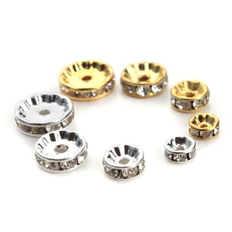 Spacer Kw 1 50pcs lot 6mm 8mm 10mm 12mm diameter gold silver plated metal spacer rondelle rhinestone