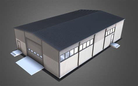 industrial hangar  winter  model cgtrader