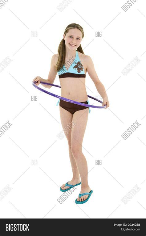 portrait preteen swimsuit holding hula hoop stock photo preteen girl image photo bigstock