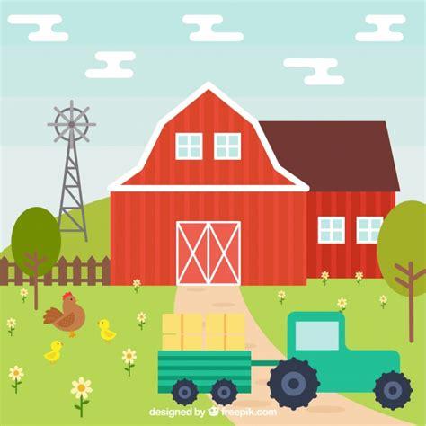 granero vector fondo de granero con tractor en dise 241 o plano descargar