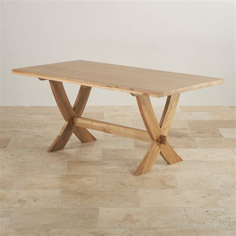 quercus 6ft dining table in rustic real oak crossley solid oak crossed leg dining table