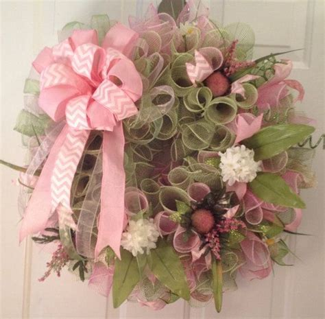 22000 Pink Flower Mesh green and light pink floral deco mesh wreath deco mesh deco mesh wreaths and pink