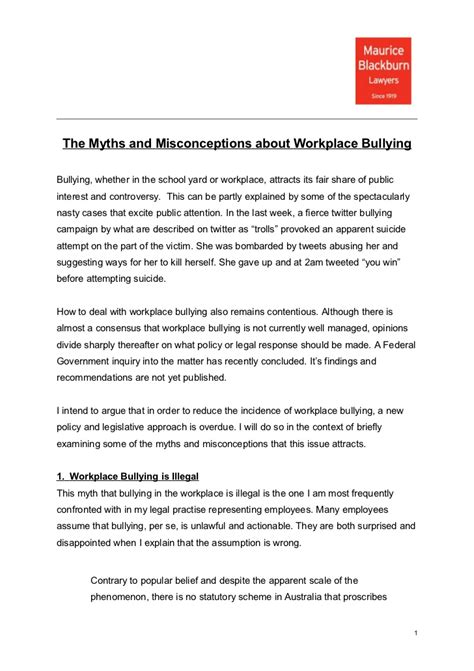 Complaint Letter Bullying In The Workplace Sle Myths And Misconceptions About Workplace Bullying By Josh Bornstein