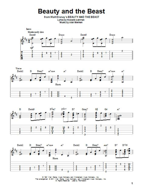 beauty and the beast chord beauty and the beast guitar tab by alan menken guitar tab