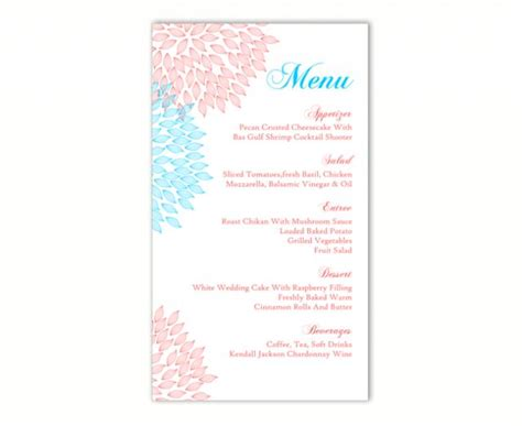 wedding menu template diy menu card template editable text