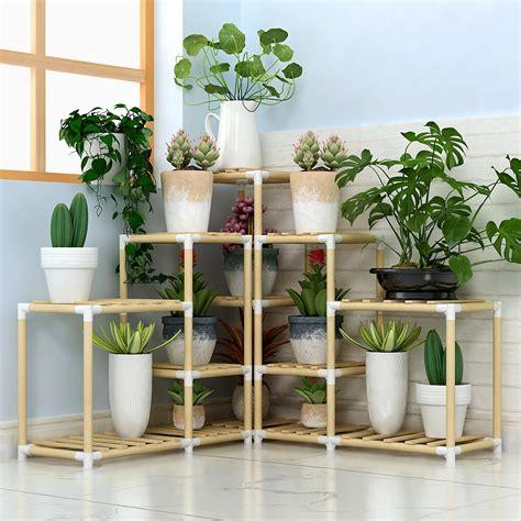 tiers wooden plant stand indoor outdoor patio garden