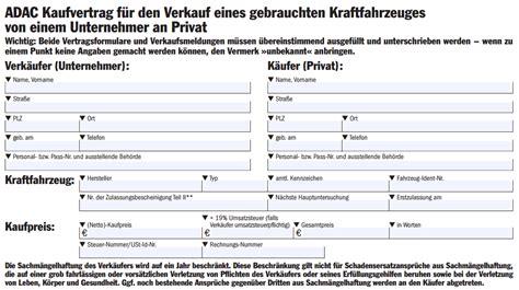 Kaufvertrag Motorrad Ausland by Vordruck Kfz Kaufvertrag
