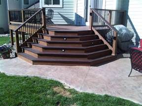 composite patio splayed trex composite deck stairs onto sted concrete
