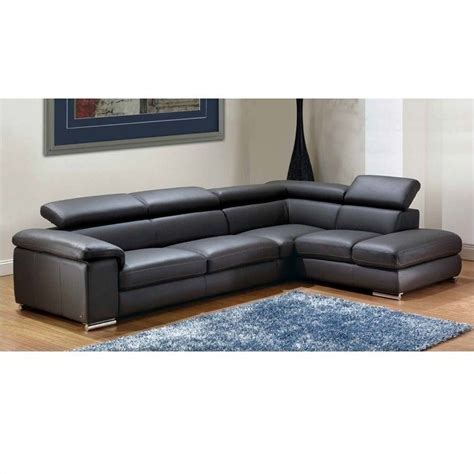 Gray Sectional Sofa With Chaise Nicoletti Leather Sectional With Right Facing Chaise In Gray Angelsectionalright