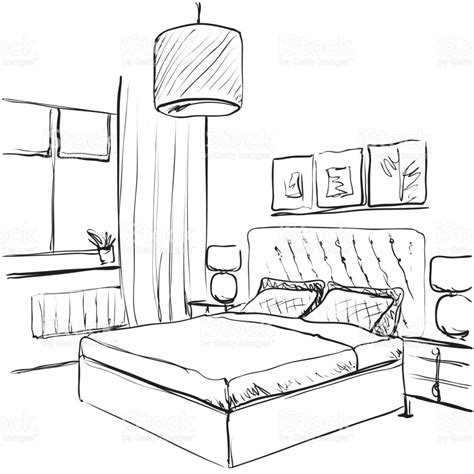 sketch of a bedroom bedroom interior sketch hand drawn furniture stock vector