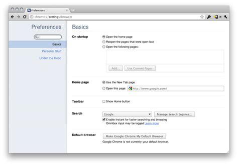 Chrome Settings | google chrome 10 release brings tabbed settings flash