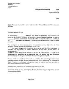 Lettre Type Gratuite Commission De Recours Contre Refus De Visa Exemple Gratuit De Lettre Recours Devant Tribunal Administratif Contre Refus Aide Urgence Annuelle
