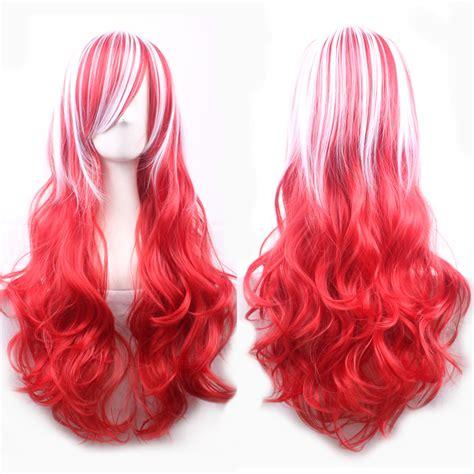 Wig 70 Cm Tsn 70 cm harajuku fashion wig curly wavy anime white mixed wig