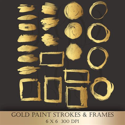 gold brush paint strokes clip gold metallic glitter strokes circles frames painted logo