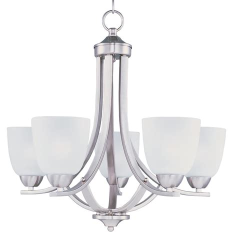 Nickel Chandeliers Maxim Lighting Axis 5 Light Satin Nickel Chandelier With Frosted Shade 11225ftsn The Home Depot