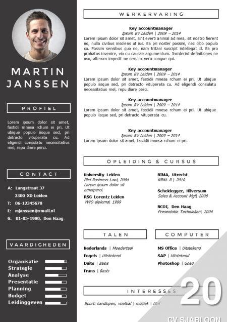 Modern Cv Sjabloon Word cv sjabloon 20 cv template template and resume cv