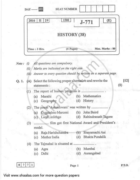 state pattern history question paper history 2015 2016 hsc arts 12th board