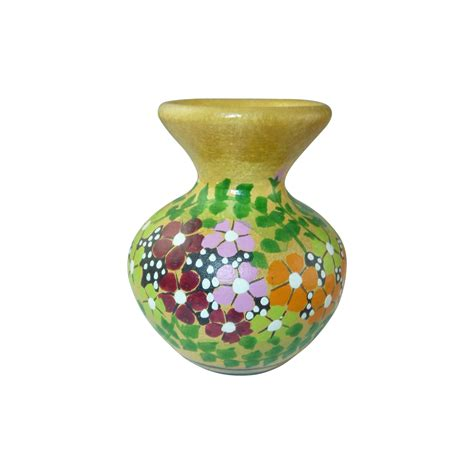 Yellow Pottery Vase by Yellow Miniature Painted Pottery Urn Vase From