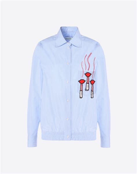 17205 Embroidered Poplin Blouse Blue White Size S M L valentino striped button front poplin blouse with lipstick wave embroidery blue white modesens