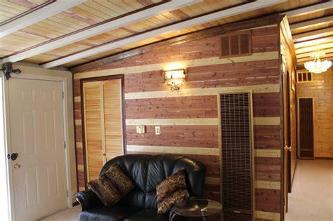 decorating  wall   eichler house  red cedar planks