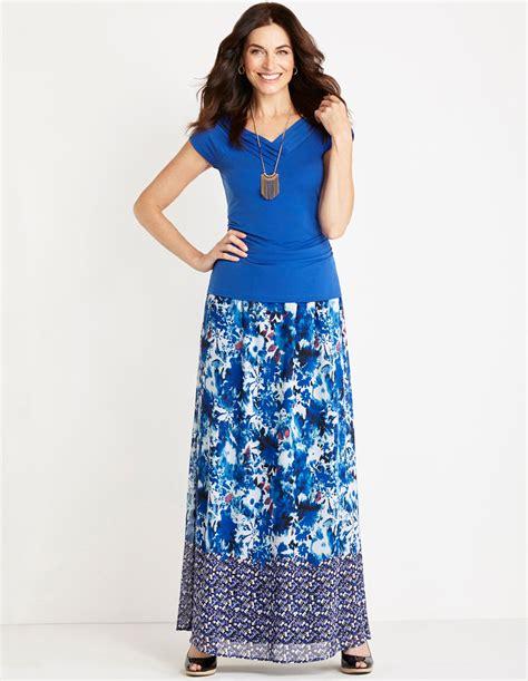 blue floral chiffon maxi skirt cleo