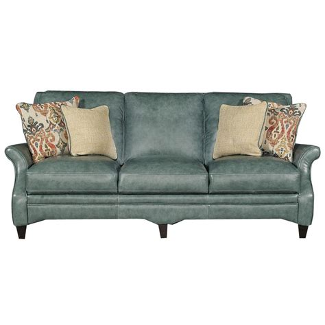 Leather Traditional Sofa Silver Lake Green Leather Traditional Sofa