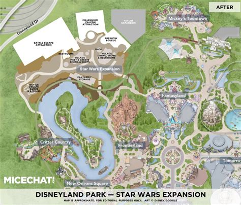 layout of the land disneyland s star wars land expansion layout shown in map