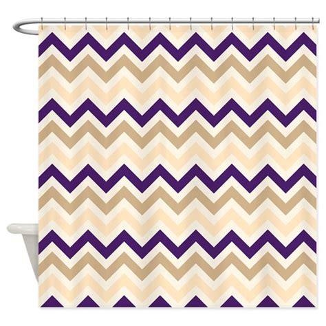 tan and white chevron shower curtain tan eggplant purple ivory chevron shower curtain by